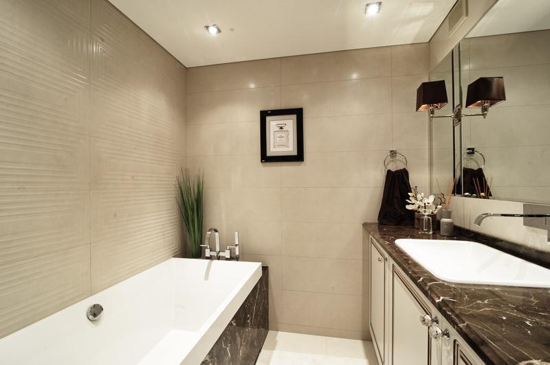 Интерьер ванной бежевого цвета