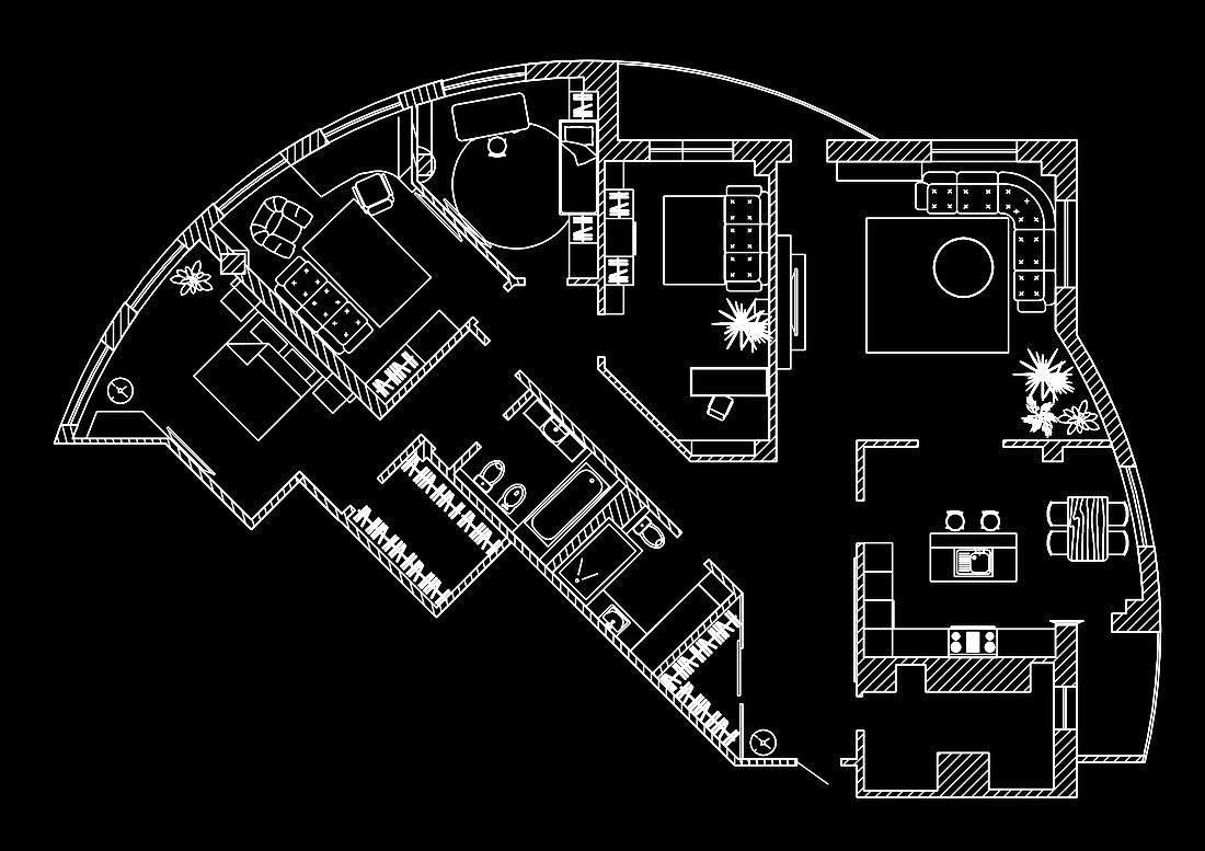 Эскиз перепланировки квартиры с расстановкой мебели