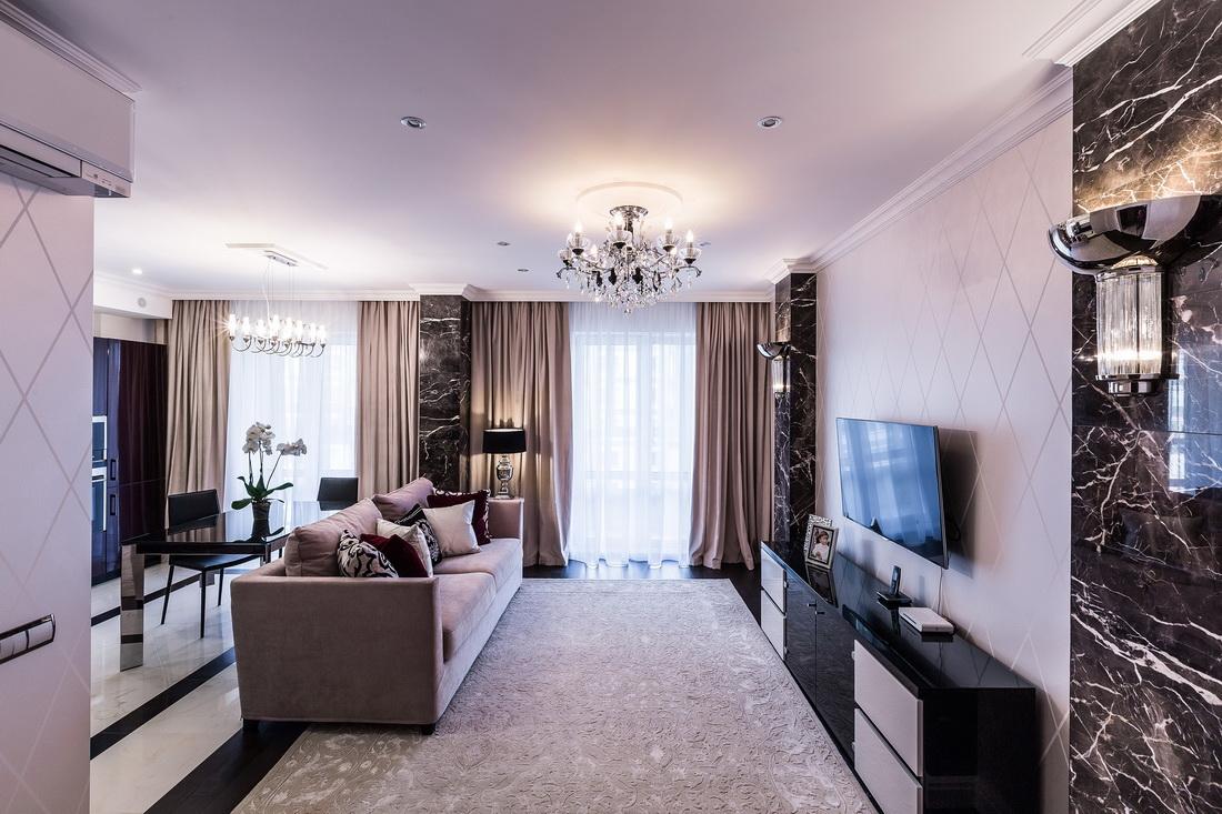Дизайн гостиной с использованием керамической плитки