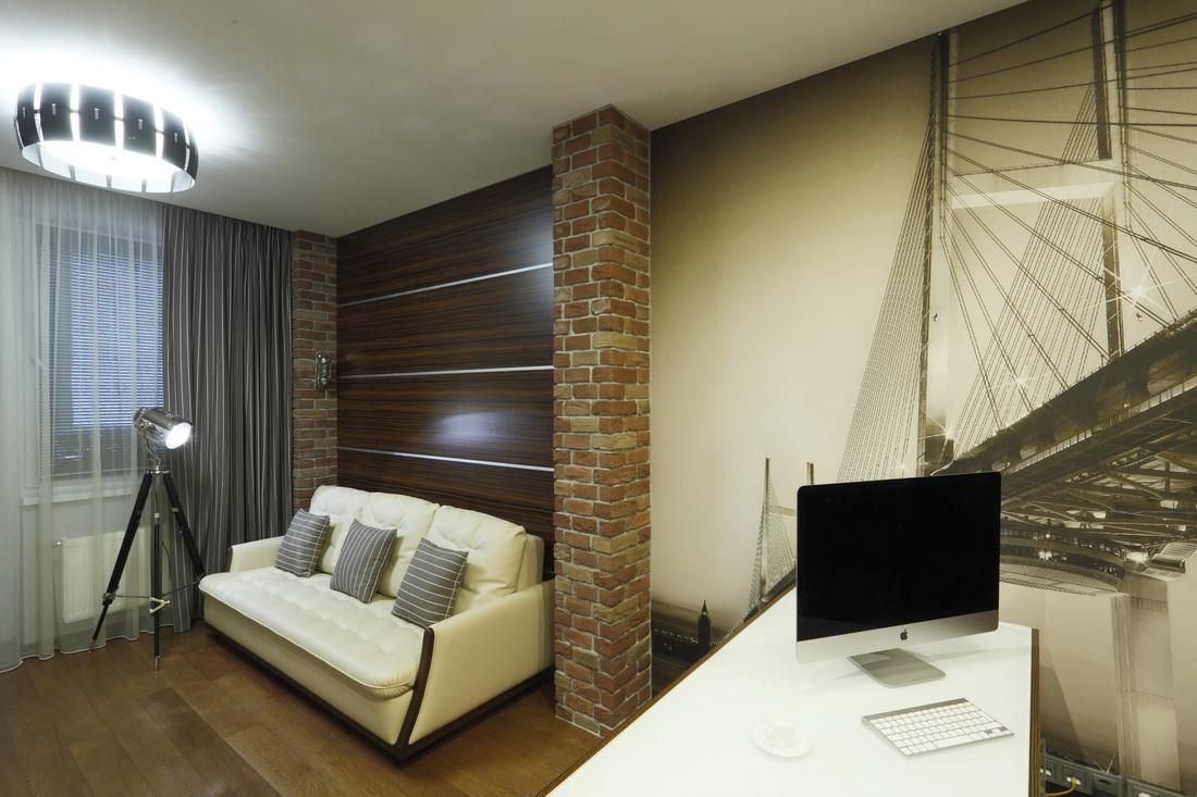 визуализация интерьера рабочего кабинета в квартире