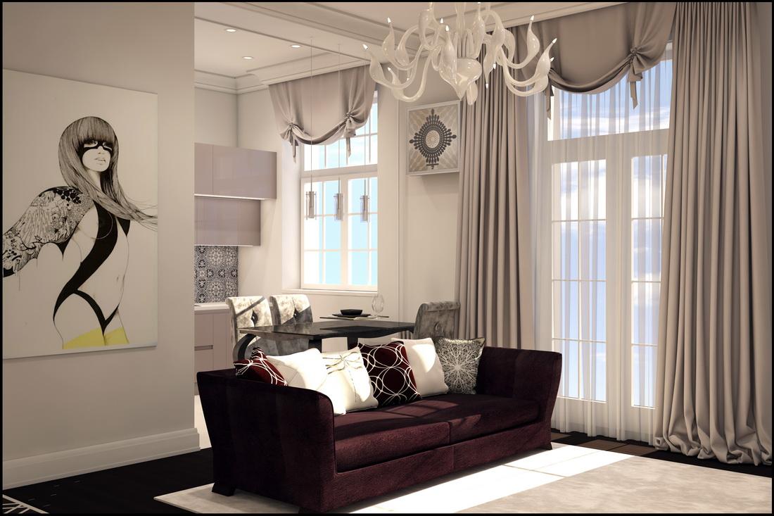 Классический дизайн гостиной в светлых тонах