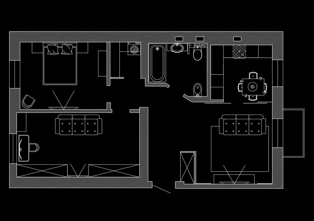 планировка квартиры с расстановкой мебели в сталинке
