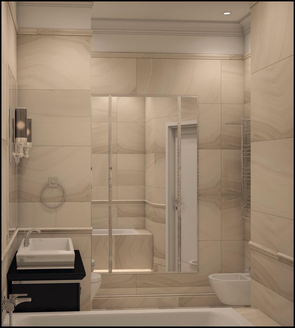 Интерьер ванной комнаты в сталинке
