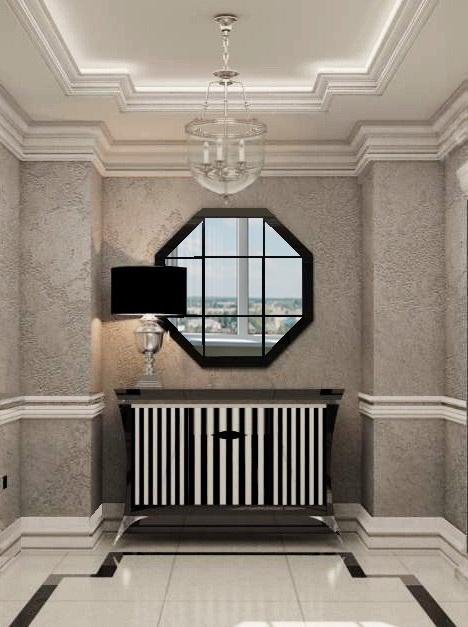 дизайн интерьера прихожей с двухуровневым потолком