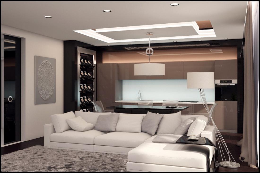 Дизайн гостиной в бежевых тонах