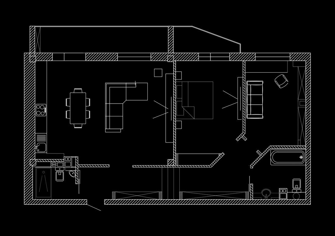 Эскиз перепланировки квартиры с разметкой мебели
