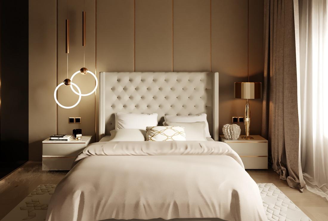 Спальня в современном стиле в бежевых тонах