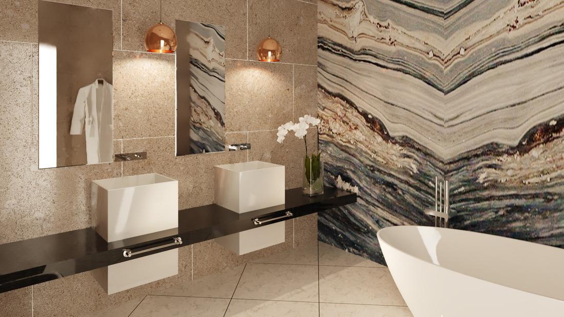 Дизайн ванной комнаты с отделкой мрамором