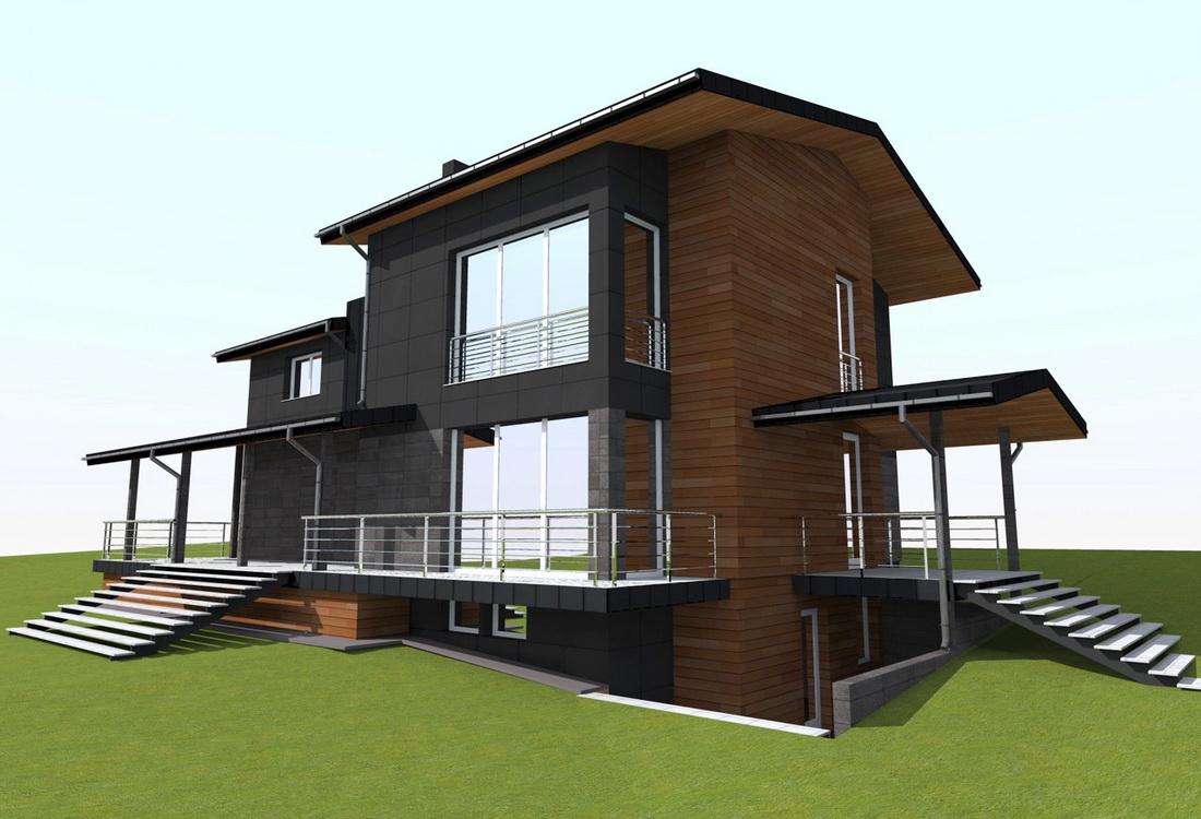 Проект загородного дома, дизайн фасада