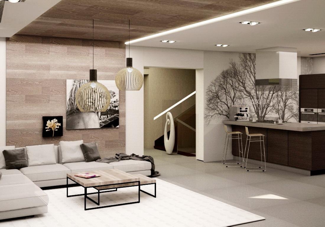 3d визуализация интерьера гостиной