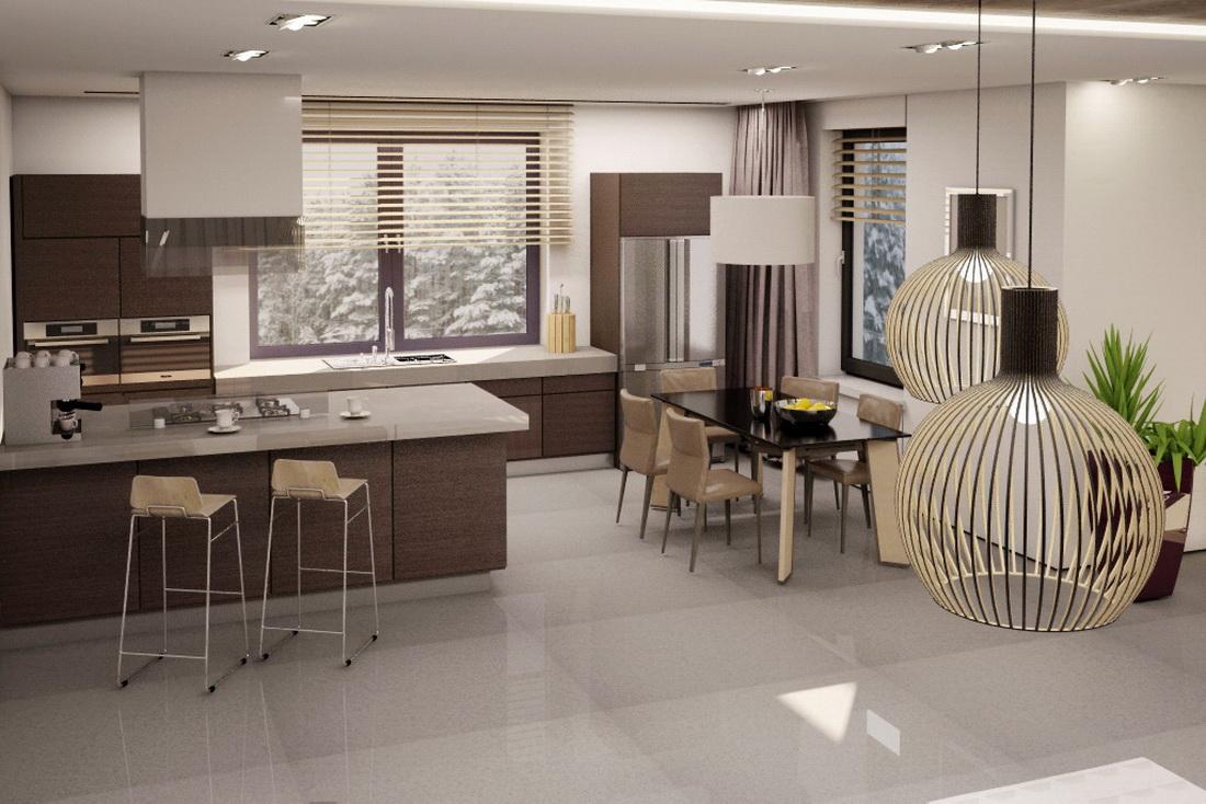 Дизайн-проект кухни и обеденной зоны совмещенных с гостиной