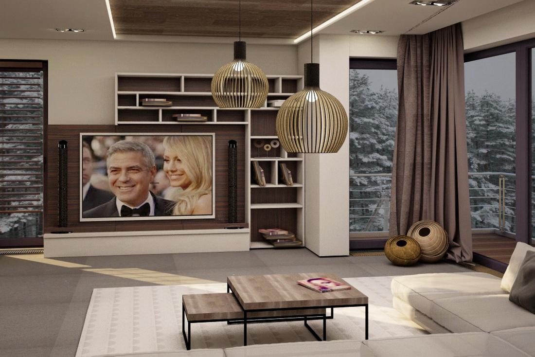 3D визуализация дизайна интерьера гостиной в коттедже