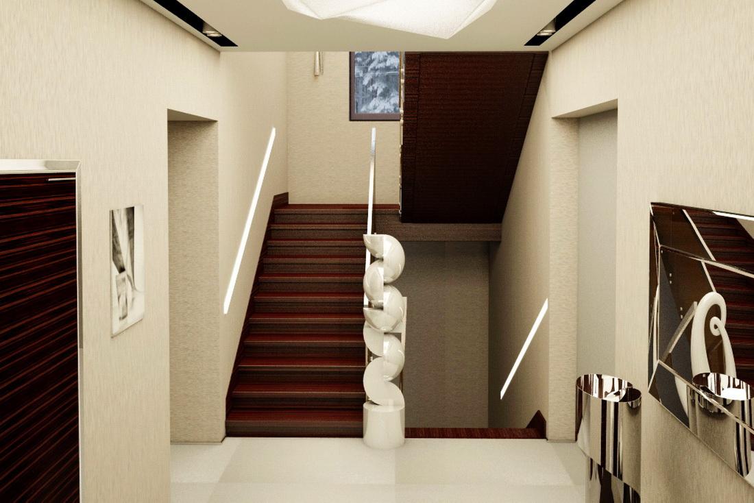 Оформление коридора и лестницы в частном доме