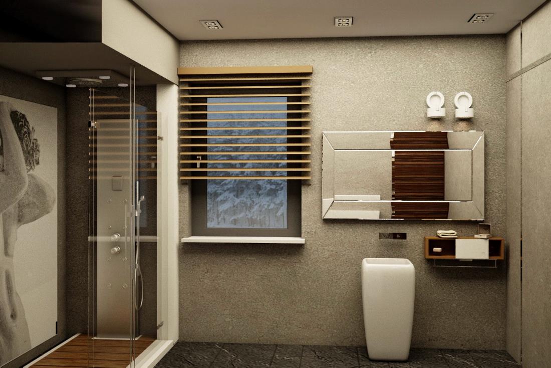 Оформление ванной комнаты в загородном доме