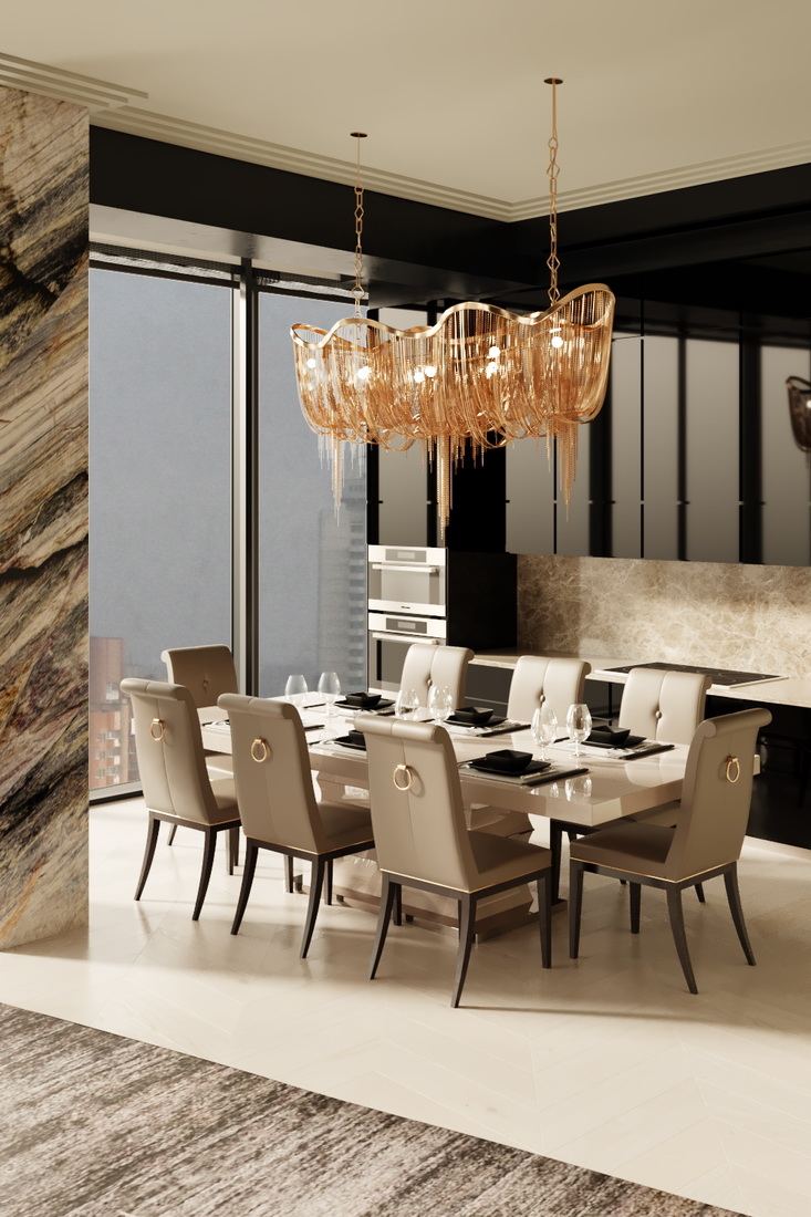 Дизайн столовой комнаты с витражными окнами